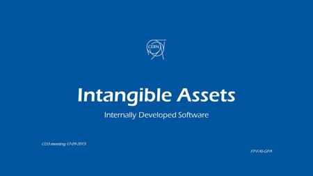 Intangible Assets Internally Developed Software CO3 meeting 17-09-2015 FP-FAS-GPA.