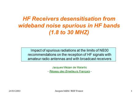 24/03/2003Jacques MdM / REF France1 HF Receivers desensitisation from wideband noise spurious in HF bands (1.8 to 30 MHZ) Impact of spurious radiations.