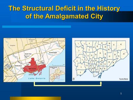 1 The Structural Deficit in the History of the Amalgamated City.