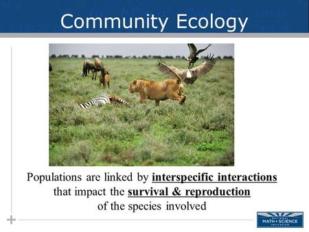 Community Ecology Populations are linked by interspecific interactions that impact the survival & reproduction of the species involved.