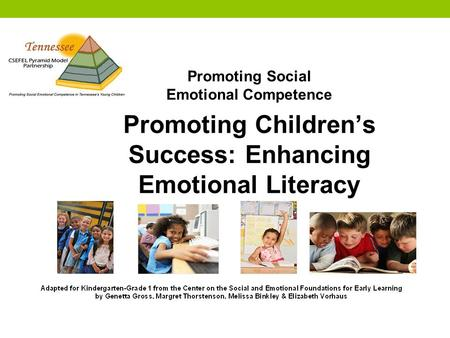 Promoting Social Emotional Competence Promoting Children's Success: Enhancing Emotional Literacy.
