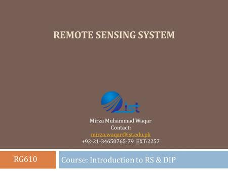 Course: Introduction to RS & DIP