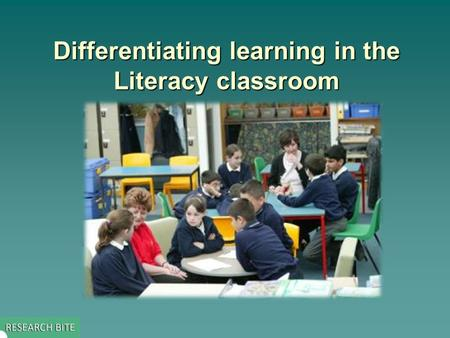 Differentiating learning in the Literacy classroom.