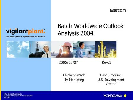 Batch Competitive Analysis Copyright © Yokogawa Electric Corporation Jan. 2005 Batch Worldwide Outlook Analysis 2004 2005/02/07 Rev.1 Chiaki Shimada IA.