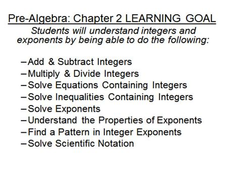 Pre-Algebra 2-2 Subtracting Integers Today's Learning Goal Assignment Learn to subtract integers.