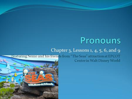 "Chapter 3, Lessons 1, 4, 5, 6, and 9 (featuring Nemo and his friends from ""The Seas"" attraction at EPCOT Center in Walt Disney World."