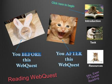 Reading WebQuest Mrs. Ewer 7 th Grade Reading Introduction Task Resources.