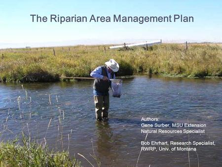 The Riparian Area Management Plan Authors: Gene Surber, MSU Extension Natural Resources Specialist Bob Ehrhart, Research Specialist, RWRP, Univ. of Montana.