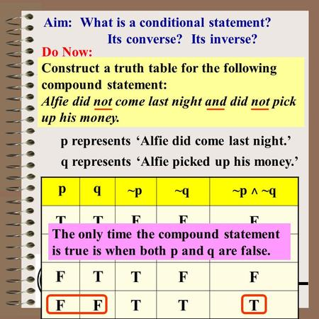 Aim: Conditional, Converse & Inverse Course: Math Lit. Aim: What is a conditional statement? Its converse? Its inverse? Do Now: Construct a truth table.