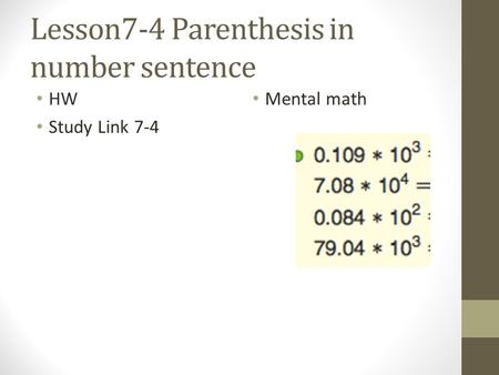 Lesson7-4 Parenthesis in number sentence