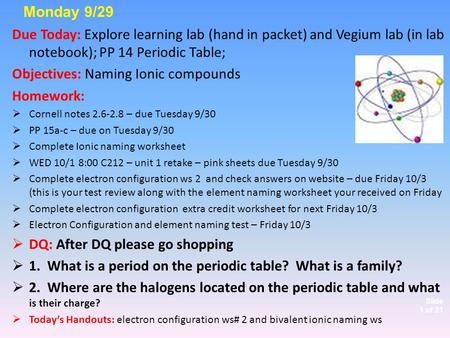 Slide 1 of 21 Due Today: Explore learning lab (hand in packet) and Vegium lab (in lab notebook); PP 14 Periodic Table; Objectives: Naming Ionic compounds.