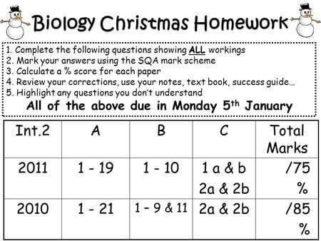 Biology Christmas Homework ALL 1. Complete the following questions showing ALL workings 2. Mark your answers using the SQA mark scheme 3. Calculate a %