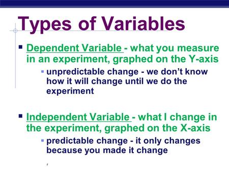 Regents Biology Types of Variables  Dependent Variable - what you measure in an experiment, graphed on the Y-axis  unpredictable change - we don't know.
