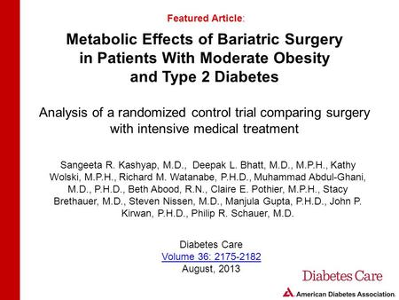 Metabolic Effects of Bariatric Surgery