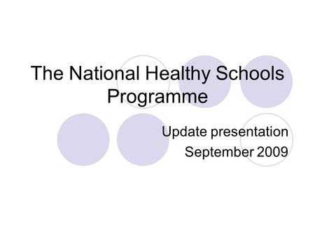 The National Healthy Schools Programme Update presentation September 2009.