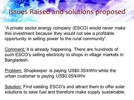 "Issues Raised and solutions proposed 1 ""A private sector energy company (ESCO) would never make this investment because they would not see a profitable."