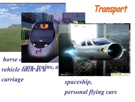 Horse or simple vehicle such as a carriage cars, trains, airplanes, spaceship, personal flying cars.