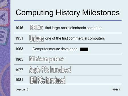 Slide 1 Computing History Milestones 1946 first large-scale electronic computer 1951 one of the first commercial computers 1963Computer mouse developed.