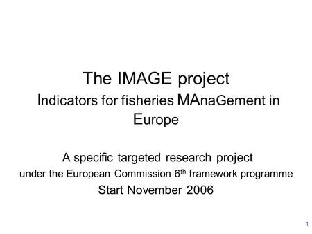 1 The IMAGE project I ndicators for fisheries MA naGement in E urope A specific targeted research project under the European Commission 6 th framework.