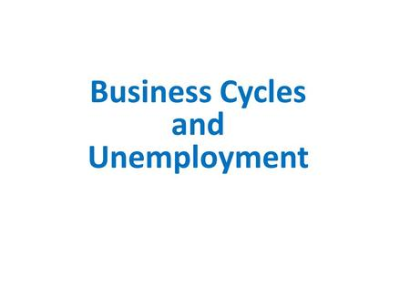 Business Cycles and Unemployment. Business Cycle Alternating periods of economic growth and contraction, which can be measured by changes in real GDP.