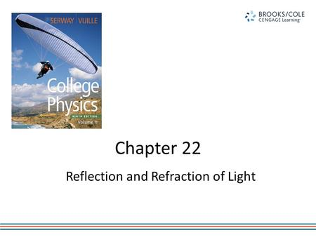 Chapter 22 Reflection and Refraction of Light. Nature of Light Light has a dual nature. – Particle – Wave Wave characteristics will be discussed in this.