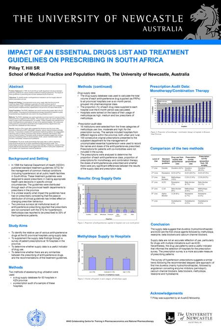 IMPACT OF AN ESSENTIAL DRUGS LIST AND TREATMENT GUIDELINES ON PRESCRIBING IN SOUTH AFRICA In 1998 the National Department of Health (NDOH) published standard.