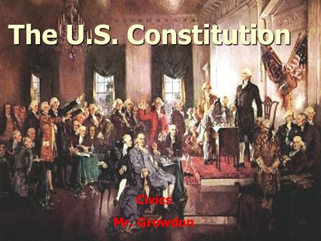The U.S. Constitution Civics Mr. Growdon. Contents What is the Constitution? What is the Constitution? Background and origin Background and origin Organization.