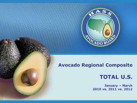 1 Avocado Regional Composite TOTAL U.S. January – March 2010 vs. 2011 vs. 2012.