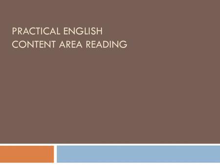 PRACTICAL ENGLISH CONTENT AREA READING. Matthew R. Anderson Education 2008 Teacher Licensure, University of Dayton, Dayton, Ohio USA 1996 MFA, Miami University,