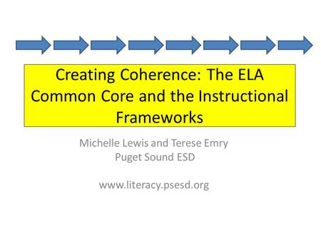 Creating Coherence: The ELA Common Core and the Instructional Frameworks Michelle Lewis and Terese Emry Puget Sound ESD www.literacy.psesd.org.
