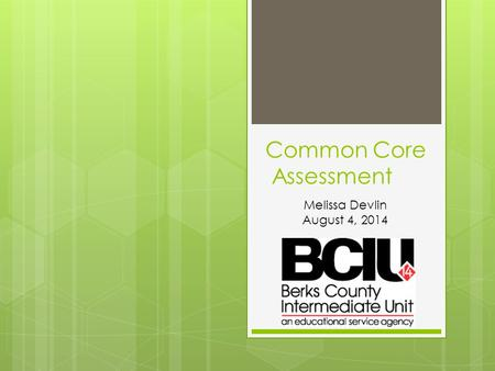 Common Core Assessment Melissa Devlin August 4, 2014.
