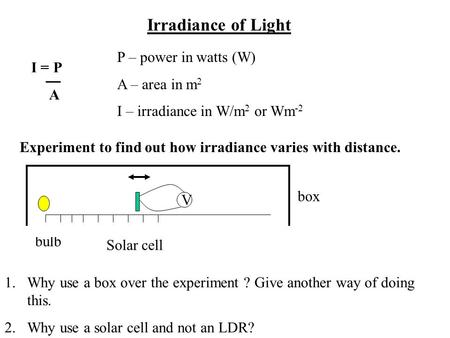 Irradiance of Light I = P A P – power in watts (W) A – area in m 2 I – irradiance in W/m 2 or Wm -2 Experiment to find out how irradiance varies with distance.