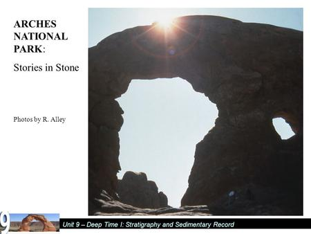Unit 9 – Deep Time I: Stratigraphy and Sedimentary Record ARCHES NATIONAL PARK: Stories in Stone Photos by R. Alley.