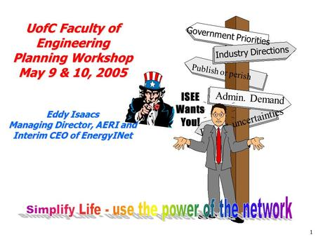 1 ISEE Wants You! UofC Faculty of Engineering Planning Workshop May 9 & 10, 2005 Eddy Isaacs Managing Director, AERI and Interim CEO of EnergyINet Government.