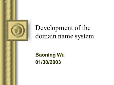 Development of the domain name system Baoning Wu 01/30/2003.