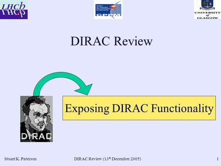 DIRAC Review (13 th December 2005)Stuart K. Paterson1 DIRAC Review Exposing DIRAC Functionality.