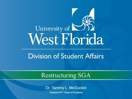 Restructuring SGA Dr. Tammy L. McGuckin Assistant VP / Dean of Students.