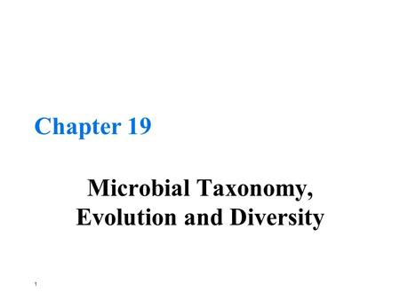 1 Chapter 19 Microbial Taxonomy, Evolution and Diversity.