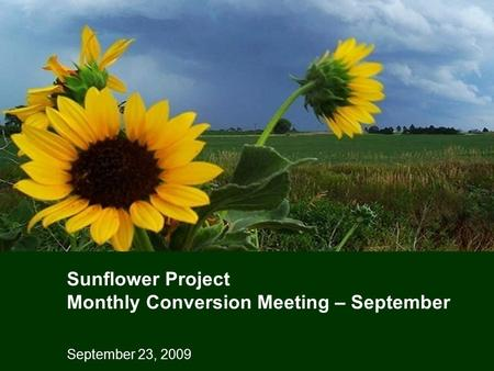 September 23, 2009 Sunflower Project Monthly Conversion Meeting – September.