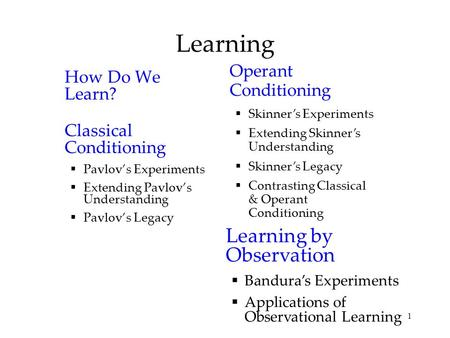 1 Learning How Do We Learn? Classical Conditioning  Pavlov's Experiments  Extending Pavlov's Understanding  Pavlov's Legacy Operant Conditioning  Skinner's.