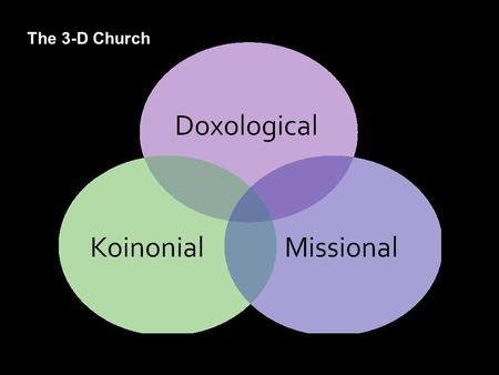 "The 3-D Church. Know and experience the God who loves you 1.""Touching Jesus"" – encouraging growth in personal faith 2.Shift to the high expectation."