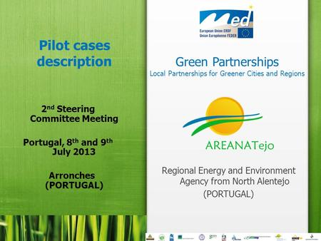 Green Partnerships Local Partnerships for Greener Cities and Regions Pilot cases description 2 nd Steering Committee Meeting Portugal, 8 th and 9 th July.