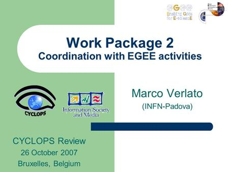 Work Package 2 Coordination with EGEE activities Marco Verlato (INFN-Padova) CYCLOPS Review 26 October 2007 Bruxelles, Belgium.