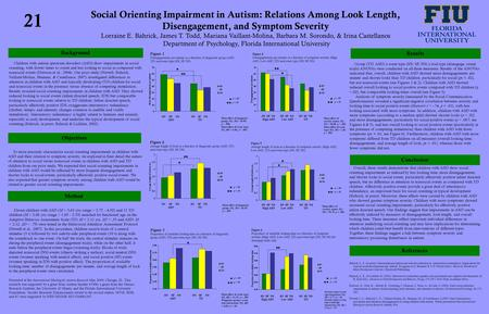 Social Orienting Impairment in Autism: Relations Among Look Length, Disengagement, and Symptom Severity Lorraine E. Bahrick, James T. Todd, Mariana Vaillant-Molina,