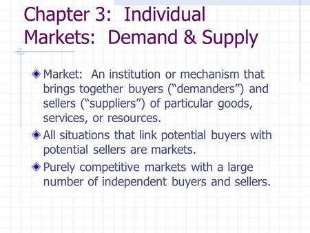 Chapter 3: Individual Markets: Demand & Supply
