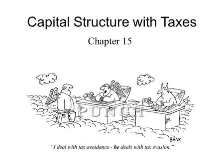Capital Structure with Taxes Chapter 15. Outline The tax advantage of debt Computing the interest tax shield Valuation of the interest tax shield Recapitalization.
