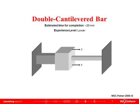 1 F F Double-Cantilevered Bar Estimated time for completion: ~20 min Experience Level: Lower MSC.Patran 2005 r2.