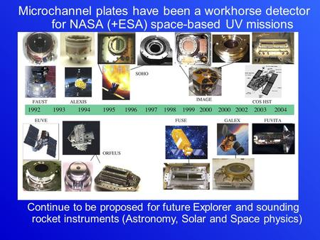 Microchannel plates have been a workhorse detector for NASA (+ESA) space-based UV missions Continue to be proposed for future Explorer and sounding rocket.
