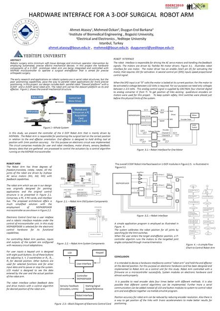 HARDWARE INTERFACE FOR A 3-DOF SURGICAL ROBOT ARM Ahmet Atasoy 1, Mehmed Ozkan 2, Duygun Erol Barkana 3 1 Institute of Biomedical Engineering, Bogazici.