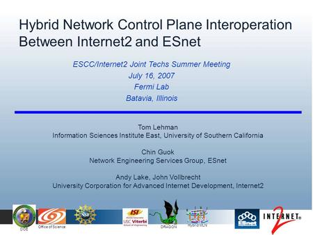 Hybrid MLN DOE Office of Science DRAGON Hybrid Network Control Plane Interoperation Between Internet2 and ESnet Tom Lehman Information Sciences Institute.